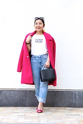 Kristen Tanabe - Betsey Johnson Hot Pink Wool Coat, Bow & Drape Sunday Funday T Shirt, Topshop Straight Light Wash Jeans, Mark Cross Box Handbag, Steve Madden Metallic Pink Heels, Miu Cat Eye Sunglasses, Forever 21 Smiley Face Earrings - Sunday Sunday