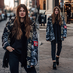 Jacky - Missguided Jacket, Acne Studios Scarf, Calvin Klein Boots -  New York Streetstyle: Oversized Camouflage Jacket