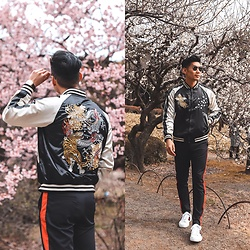 Leo Chan - Levitate Style How To Wear Embroidered Souvenir Jacket, Gucci Sneakers, Prada Teddy Sunglasses - Embroidered Souvenir Jacket | Tokyo, Japan