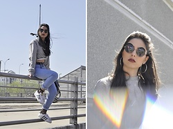 Jelena Dimić - Romwe Round Sunglasses, Rosegal Silver Hoop Earrings, Shein Knotted Crop Sweatshirt, Zaful Black Belt, Shein High Waist Jeans, Rosegal Fishnet Stockings, Adidas Superstar Sneakers - In the burst of light that blinded every angel