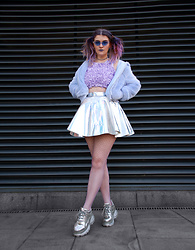 Alison Videoland - Glitters For Dinner Holographic Skirt, Buffalo Silver Sneaker, Broke + Schön Flower Crop Top - Space Babe