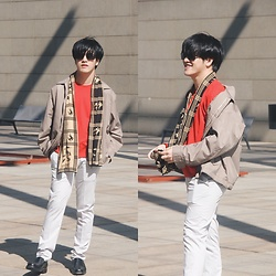 Seff Musa - Saint Laurent Tan Bomber Jacket, H&M Red Orange Sweater, Burberry Scarf, Zara Gray White Pants, Milano Black Leather Shoes, Prada Black Sunglasses - Wind Up