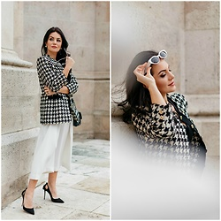 Edisa Shahini - Guy Laroche Blazer, & Other Stories Culottes, Zara Sunglasses, Aquazzura Heels - Black & White