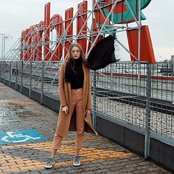 Dasha - Pull & Bear Coat, Pull & Bear Trousers, Armani Exchange Trainers - Rainy