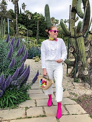Colourvibes Blog - Blanco White Sweater, Zara Culotte Jean, H&M Sock Boots - White and pink