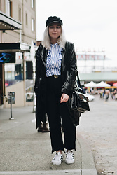 Elizabeth Claire - H&M Greek Fisherman's Hat, Whowhatwear Black Patent Leather Coat, Whowhatwear Striped Ruffle Blouse, Boohoo Black Step Hem Jeans, Adidas Superstars, H&M Gold Circle Belt, Clarks Black Patent Leather Bag - Public Market