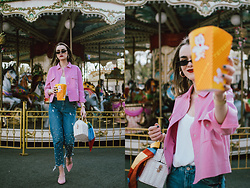 Andreea Birsan - Small Cat Eye Sunglasses, Pink Cropped Jacket, White Cami Top, Pearl Embellishes Mom Jeans, Pink Suede Kitten Heel Mules - Double denim with a twist
