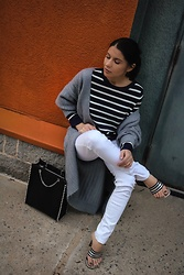 Isabel Alexander - Old Navy White Striped Top, Banana Republic Factory White Skinny Jeans, Zara Black Studded Bag - Spring whites