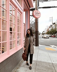 Tiffany Wang - Gucci Loafers, Zara Jacket, Le Specs Sunglasses, Jw Anderson Purse - GLOSSIER