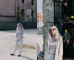 Tea M - Zara Striped T Shirt, Stradivarius Pale Blue Mom Jeans, Vans Authentic, Primark Cream White Rain Jacket, Primark Pink Glitter Sunglasses - Pastel life