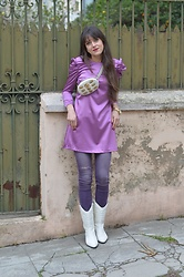 Jeanne -  - ♥ Mango Lilac Satin dress ♥
