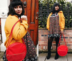 Ragini R - The Whitepepper Mustard Yellow Bomber Jacket, Ban.Do Amigo Circle Bag, Handmade Phool Dress - Red & Yellow