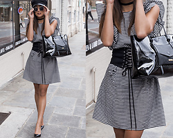 Kristina - Topshop Newsboy Hat, M. Gemi Vinyl Leather Pumps - Gingham frills
