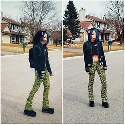 Fei Chung - Betsey Johnson Bunny Backpack, Dolls Kill Wild Pant, Dolls Kill Boots, Forever 21 Crop Top - Wild bunny