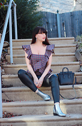 Isabella David - Petersyn Apron Top, Free People Faux Leather Leggings, Marc Fisher Metallic Booties - Something Old & Something New