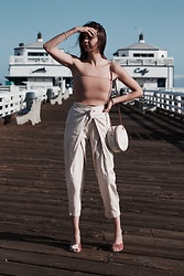 K-laa White - Urban Outfitters Hallie Ribbed Knit Top, Urban Outfitters High Rise Wrap Front Striped Pant, Madewell The Beatriz Mule Velvet, Ellen And James White Basket Purse -  majestic or Malibu dream