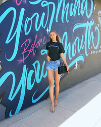 Katie Van Daalen Wetters - Metallica Shirt, Levi's® Vintage Shorts, Valentino Rockstud Sandal Slides, Saint Laurent Sac De Jour Nano - The Perfect Summer