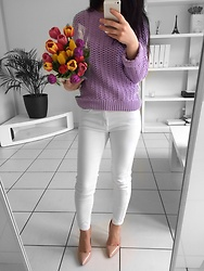 LOOK DU JOUR BY ANA - Mauve Sweater, White Jeans, Sam Edelman Hazel Leather Pumps - SPRING LOOK 14.04.2018