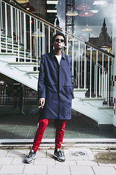 Jon The Gold - Nike Air Max 97, Adidas Red Track Pants, Cos Blue Coat, Ray Ban Black Sunglasses - Smoke Break