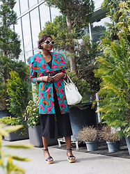 PAMELA - Ago Trench Coat With Floral Wax Print, H&M Culottes, Nine West Flatform Sandals, Prada Handbag - CHIC AFRICAN PRINTS