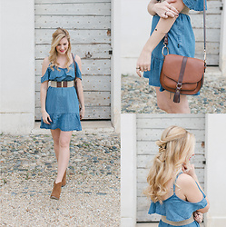 Cristina Siccardi - Ltb Denim Off Shoulder Dress, Stradivarius Embroidery Belt, Stradivarius Suede Ankle Boots, Accessorize Leather Brown Bag - Coachella: Co-co-country