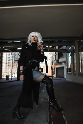 Isabel Alexander - Calvin Klein Black Over The Knee Boots, Asos Black Trench Coat - Atomic Blonde Cosplay Outfit