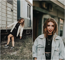 Andriana Argiropoulou - Vintage Denim Jacket, Accessorize Layered Necklaces, Pull & Bear Top, Zaful Skirt, Vans Shoes - Double Denim look with vintage Details