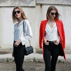 Alba Granda - Mango Red Long Blazer, Zaful Cross Body Top, H&M Blck Skinny Jeans, Rosegal Black Little Bag, Silver Necklace - Light on the way