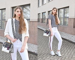 Paulina Kędzierska - White Blazer, Striped Shirt, White Jeans, White Sneakers, White Bag - White look