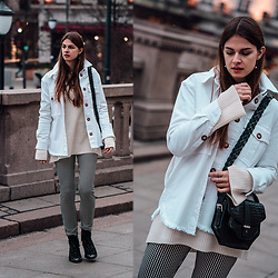 Jacky - Asos Boots -  Oslo Runway Outfit: Plaid Pants and White Denim Jacket