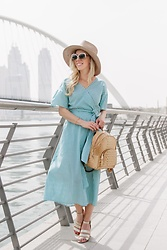 Meagan Brandon - Brixton Hat, Striped Wrap Dress, Brahmin Backpack, Similar Gold Sandals - Striped Wrap Dress in Dubai