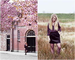 Daphne G - We Fashion Shirt, My Jewellery Leather Skirt - Blossoms and wheat