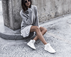 Kristina - Grana Cashmere Mix Oversized Sweater, Mobs High Top Sneakers - Dresses and sneakers