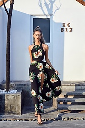 ZNU - Znu Floral Print Beach Halter Split Backless Long Dress - Vacay