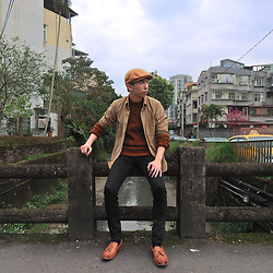 FL JU - Eddiebauer Overshirt, Topman Jumper, Kangol Hat, Cheap Monday Janes, Kurt Geiger Shoes - Earth tone