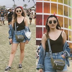 Haley D. - Lush Tank, Zara Shorts, Forever 21 Jacket, Vans Sneakers, Everest Fannypack, Madewell Bandana - Denim on denim