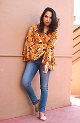 Sandra Raju - Code Yellow Trumpet Sleeve Top, Ginger Blue Mid Rise Jeans, Head Over Heels Peach Ballet Flats, Forever 21 Black Suede Choker - Statement Sleeves