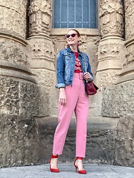 Colourvibes Blog - Zara Pink Pants, Mango Red Tshirt, Mango Cat Eye Sunnies - Pink pants!