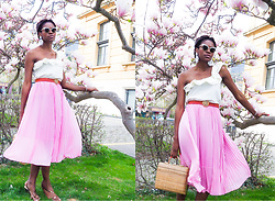 PAMELA - H&M Pink Pleated Midi Skirt, Boutique Chabada Vintage Rafia Handbag, Vera X Ken Samudio White Flower Earrings, Gucci White Cateye Sunglasses, Nine West Metallic Heeled Sandals - PASTELS & FRILLS