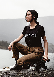 Gabby Chia - Bridge & Burn T Shirt, Bridge & Burn Linen Trousers, Newchic Black Boots - Outsider