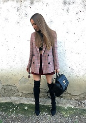 Anca-Monica - Urban Outfitters Checked Blazer, Urban Outfitters Checked Skirt, & Other Stories Cat Eye Sunglasses, Zara Over The Knee Sock Heel Boots, Moschino Quilted Backpack - Surface of the moon