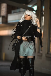 Isabel Alexander - Asos Black Trench Coat, J Crew Gray Mini Skirt, Calvin Klein Over The Knee Black Boots - Strong Looks for Strong Chicks