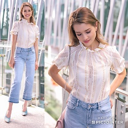 Heidi Landford - Sandro Victorian Collar Top, Seed Heritage Cropped Jeans, Mimco Heels - Essential Denim