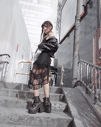 Chiemi Ito - Dolls Kill Lace Dress, Unif Boots, Unif Leather Jacket - Lace and Leather
