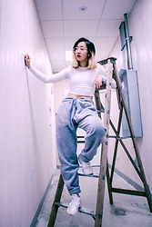 Linda Ding - American Apparel Cropped Long Sleeve, Uniqlo Pajama Pants, Nike Huaraches - Step It Up