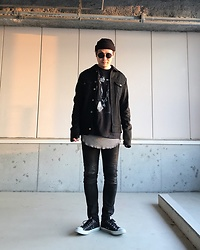 ★masaki★ - New York Hat Beanie, Odyn Vovk Denim/Leather Jacket, Joan Jett Tee, H&M Layer, Neuw Denim Skinny Jeans, Converse Allstar - I Love Rock'nRoll♪♪♪