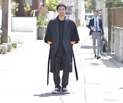 Hideki. Mn - Sufficient Long Vest Coat, Yokosakamoto Change Knit Tee, Bukht Slit Leather Pants, Supreme Nike Air Zoom All Court - Japanese fashion 66