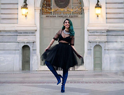 FOSBLOQUE Aristakesyan - Forever 21 Tutu Skirt, Forever 21 Blue Velour Thigh High Boots - Tutu Princess