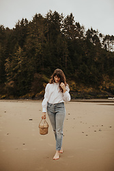 Tonya S. - Rebecca Taylor Ruffle Top, Vintage Levi's 501, Doen Basket Bag - On the Beach
