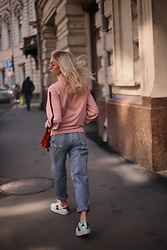 Katie - Ellesse Pink Jacket, Lime Crime Denim Jeans - Pink persuasion